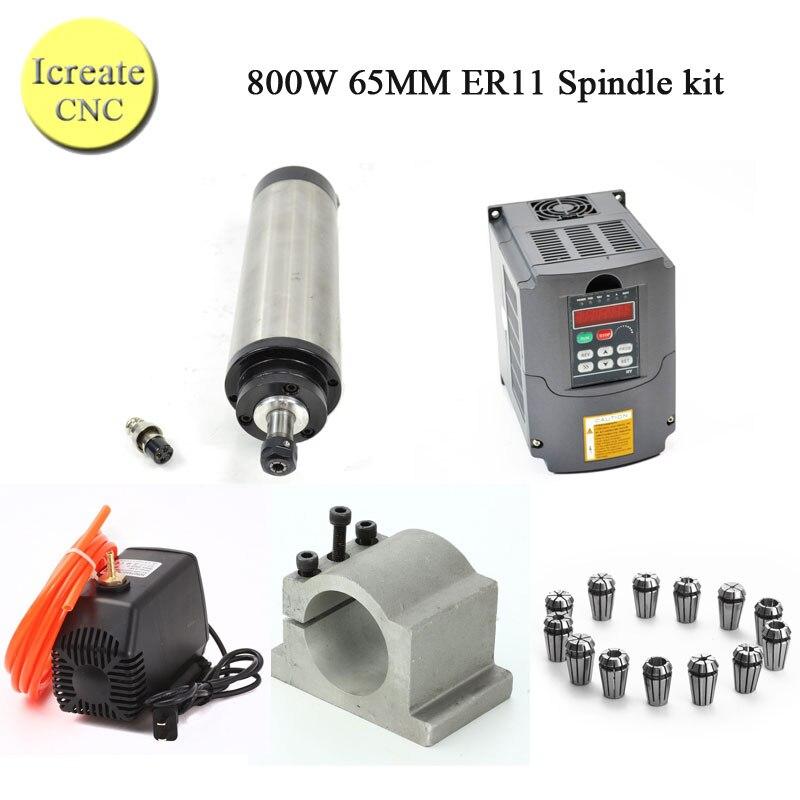 Kits de moteur de broche à ca 800 W 0.8KW 4 broche refroidie à l'eau + inverseur 1.5KW 220 V + pince 65mm + pompe + tuyau