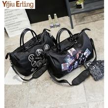 Women Waterproof Nylon Print Large Duffel Tote Casual Handbag Shoulder Bags Business Trip Short Travel Bag Weekend Overnight