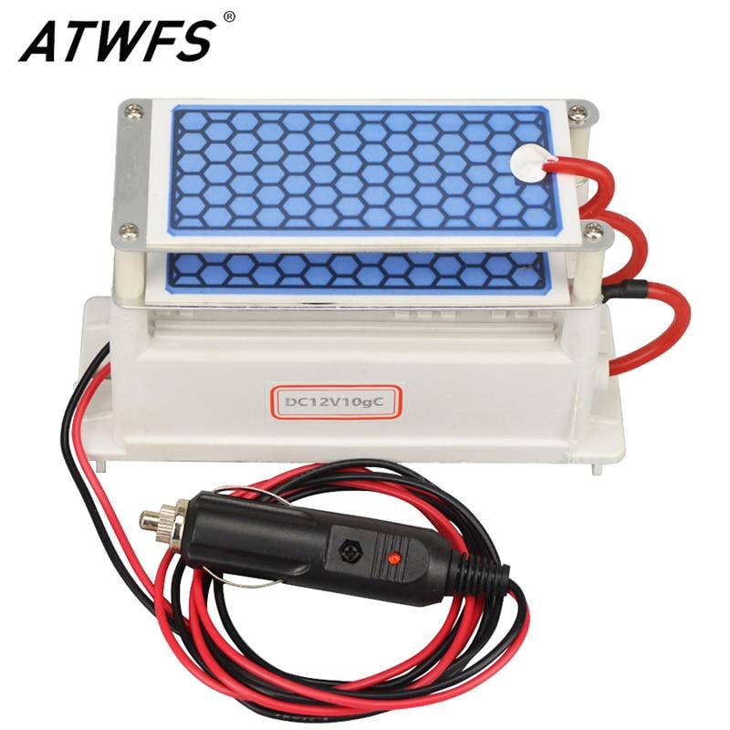 ATWFS Newest DC 12v 10g Car Ozone Generator Air Purifier Ozonizer Cleaning Ozone Ceramic Plate Air Sterilizer
