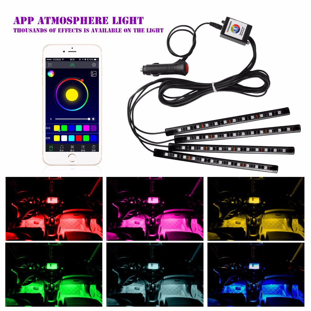 Car LED Strip Light, 4pcs 48 LED DC 12V Bluetooth control atmosphere Multicolor Music Car Interior Light LED Under Dash Lighting ...