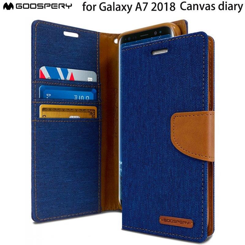 Mercury GOOSPERY 캔버스 일기 카드 지갑 삼성 갤럭시 A7 2018 A750