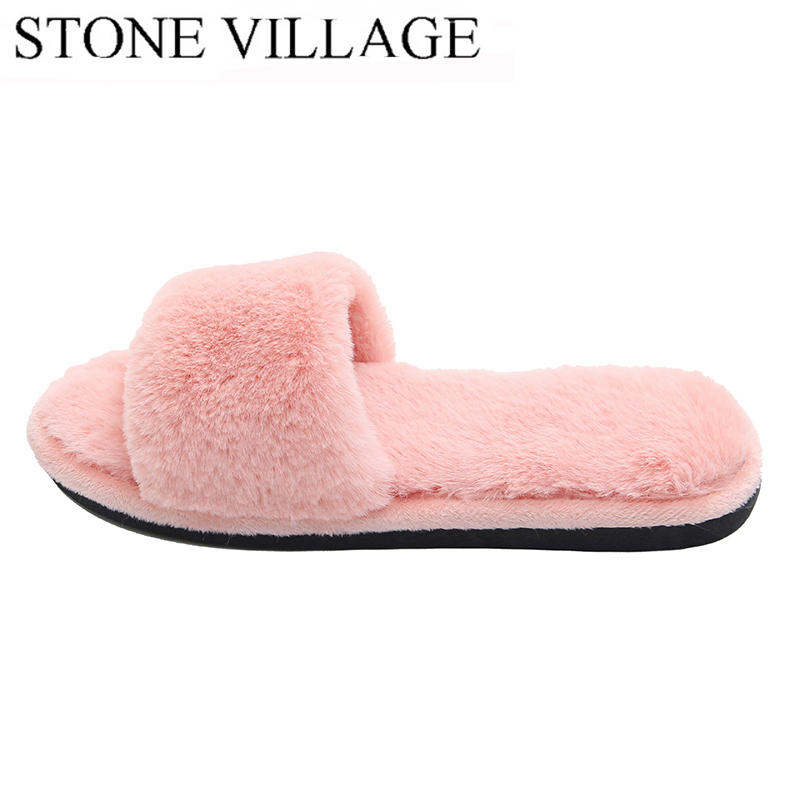 d5716802df88 Woman s Fur Fluffy Furry Fuzzy Slipper Flip Flop Open Toe Plush Cozy House  Sandal Soft Winter Flat Anti Slip Spa Indoor Shoes-in Slippers from Shoes  on ...