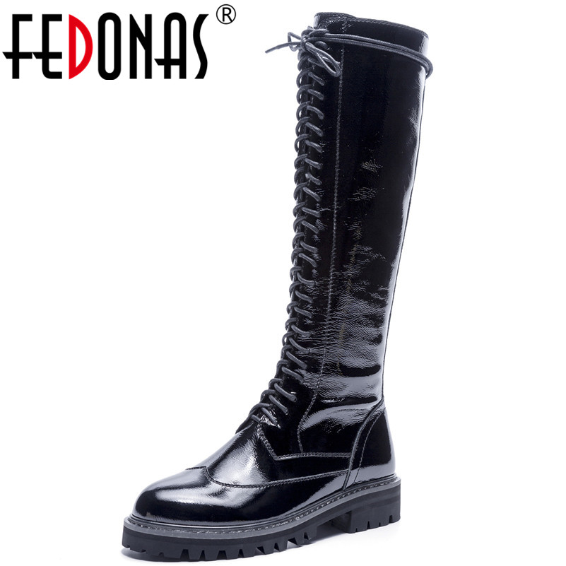 FEDONAS Fashion New Women Knee High Boots High Heels Autumn Winter Long Martin Shoes Woman Round Toe High Motorcycle Boots fedonas retro ruffels women shoes woman wedges high heeled warm autumn winter motorcycle boots fashion new round toe martin shoe