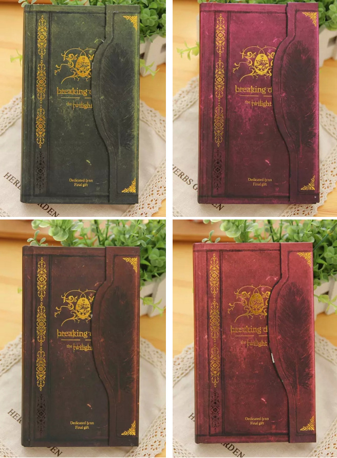 1PC Hot Vintage Breaking Hardcover Notepad Diary Book Dawn Diaries Notebook Twilight Timeless Notepad School suppliesStationery vintage creative the twilight saga breaking dawn notebook with magnetic snap fashion trend retro hardcover notepad memos