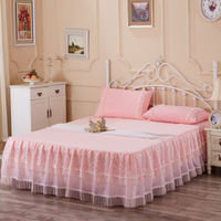 Cotton Pink/purple Lace with Rose Twin/King/Queen/Full size Bed skirt
