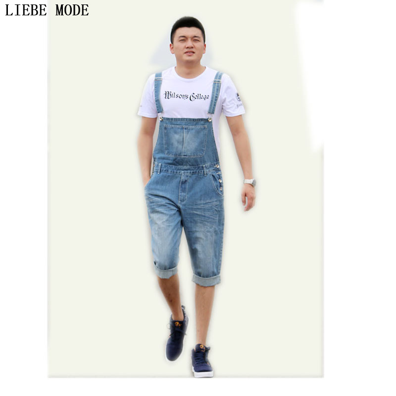Mens Fashion Bib Denim Overalls Shorts Men Summer Knee Length Jeans Shorts Plus Size S-XXXL 4XL 5XL new summer thin fashion blue denim shorts jeans male straight knee length trousers men lightweight short jeans for teenager