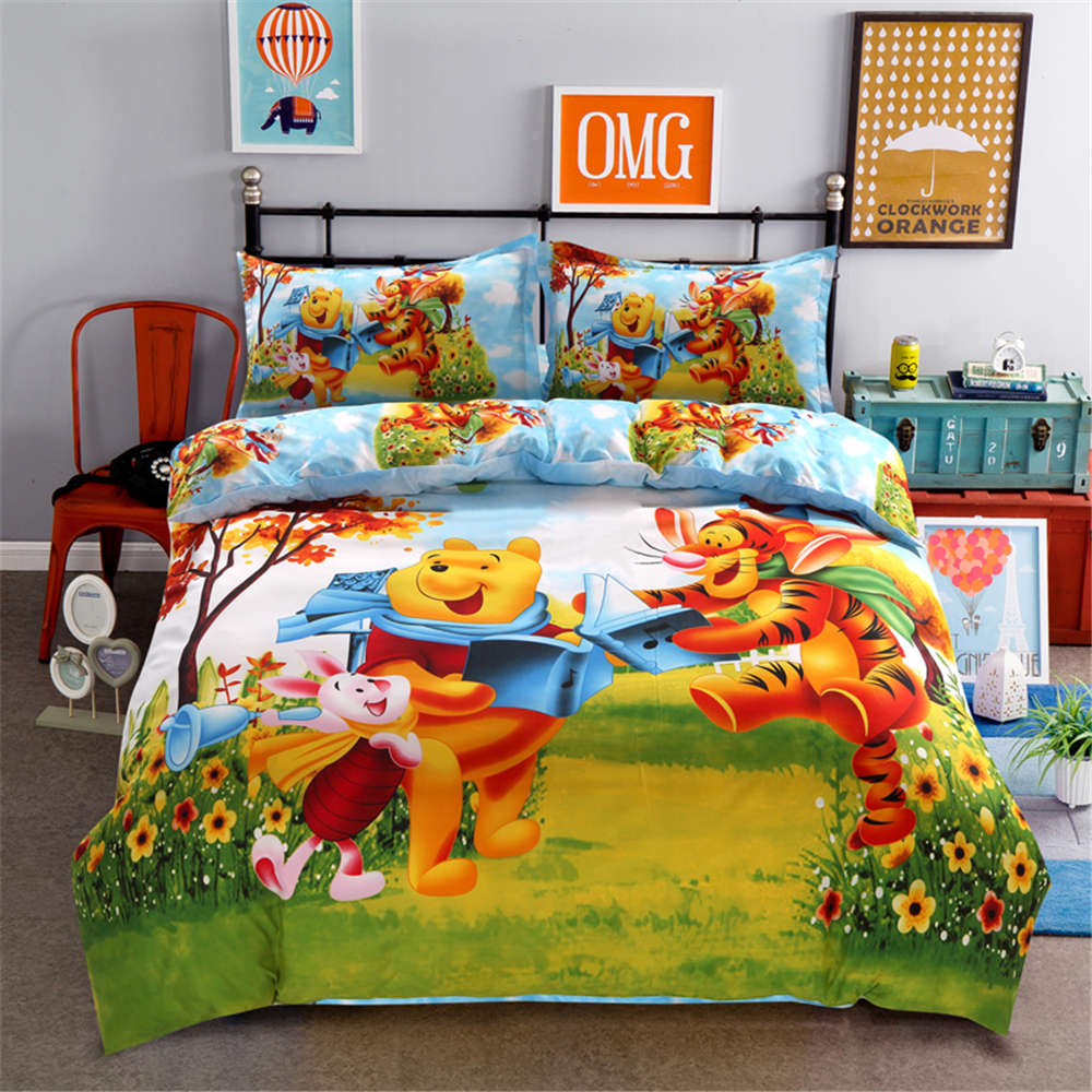 Disney Cartoon Kids Bedclothes Winnie Pooh Piglet Tigger  Comforters Sheet Bedding Set Queen Size Girls Bedding Duvet Cover  SetBedding Sets