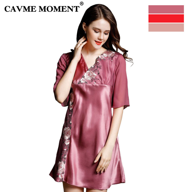 CAVME 2019 Summer Plus Size Luxury Silk Lace Nightgowns Ladies Sleepshirts Half Sleeve V-Neck Sexy Mini Sleepwear Homewear