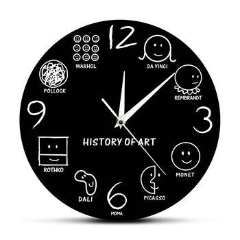 History Of Art Vintage Wall Clock Da Vinci Picasso Van Gogh Warhol Muesum Modern Art Artist Decorative Wall Watch Art Lover Gift