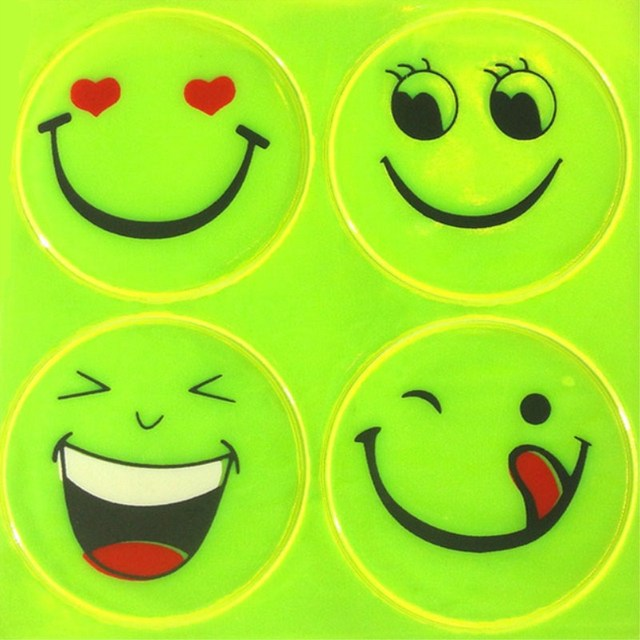 1 Sheet Funny Smiling Face Bicycle Bike Reflective Sticker  Night Riding Safety Sticker Decoration Bicycle Access