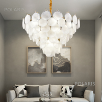 Shell Chandelier Lighting Glass Leaves Chandeliers Lamp LED Pendant Hanging Light Living Dining Room Bedroom Lighting Fixture
