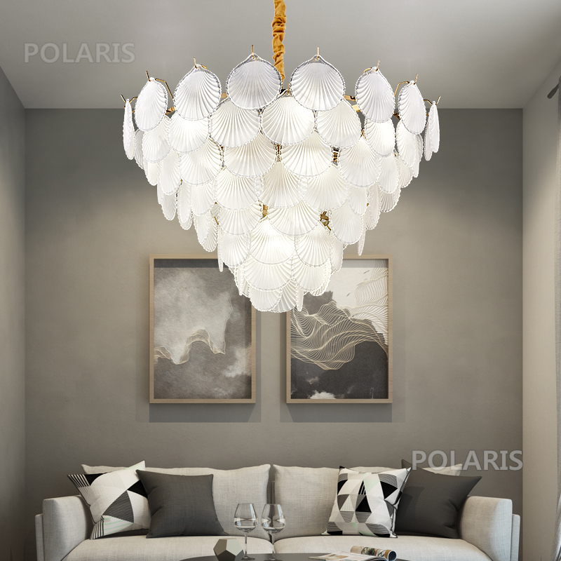 Us 328 99 50 Off Shell Chandelier Lighting Gl Leaves Chandeliers Lamp Led Pendant Hanging Light Living Dining Room Bedroom Fixture In