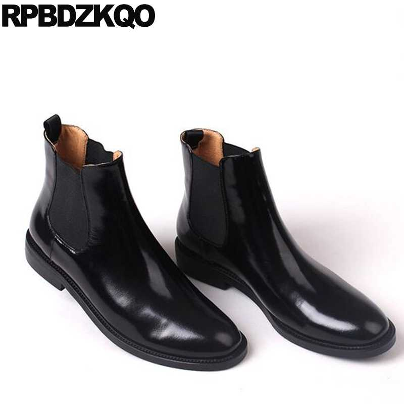 02d3732e9ac4 ... Autumn Trend Shoes Chunky Flat Chelsea Women Ankle Boots 2016 Round Toe  Patent Leather Black Brogue ...
