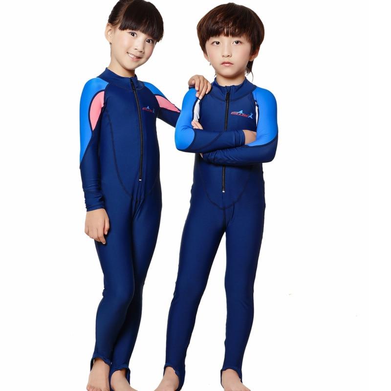 Dive sail girls swimwear kids rash suit full body swimsuit long sleeve wetsuit surf swim suit for Children s swimming pool wetsuit