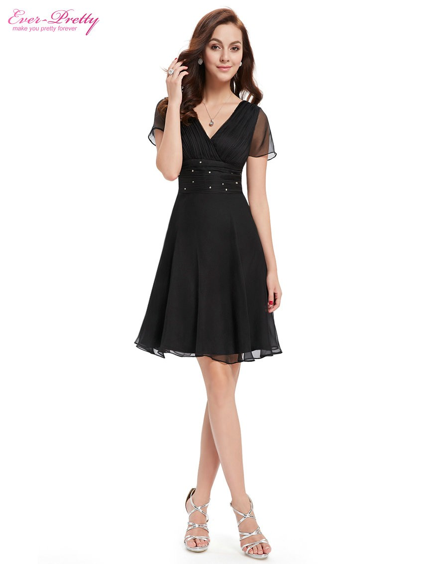Short Sleeve V Neck Ruched Bust Chiffon Party Dress 5