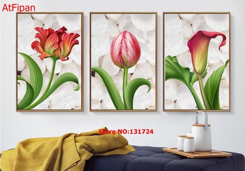 nuevo llega la imagen de arte de pared calla lily flores triple pintura sin marco