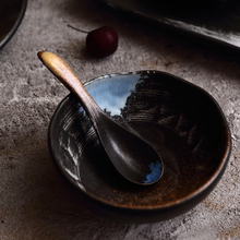 NIMITIME Japanese Style Stoneware Under Glaze Flame Kiln Ceramic Rice Bowl Long Dinner Plate Round Dish Tableware