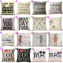 16 Styles18x18 inches Cotton Linen Quote Cushion Cover Cover Romantic Valentine Day Gift Pattern Pillowcase Throw Pillow Cover