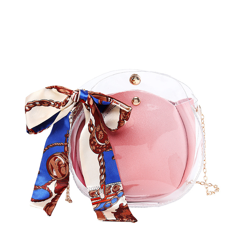 2019 New Fashion Jelly Bag For Women Small Sling Shoulder Pack With Scarf Chain Female Girls Transparent Crossbody Messenger Bag