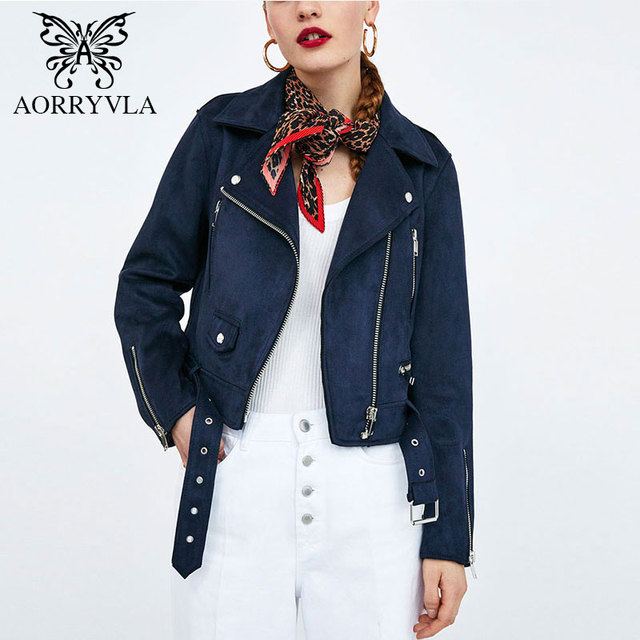 37f6a8204428 AORRYVLA New Fashion Faux Suede Biker Jacket For Women 2018 Autumn Full  Sleeve Turn-Down Zippers Female Short Coat Hot Sale