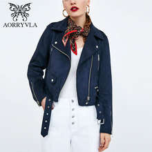 AORRYVLA New Fashion Faux Suede Biker Jacket For Women 2018 Autumn Full Sleeve Turn-Down Zippers Female Short Coat Hot Sale