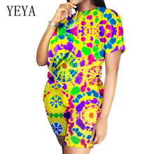 YEYA 2 Pieces Sets Slag Dyed Multicolor Playsuits Women Fashion O Neck Casual Pants Suit Summer High Quality Vintage Overalls