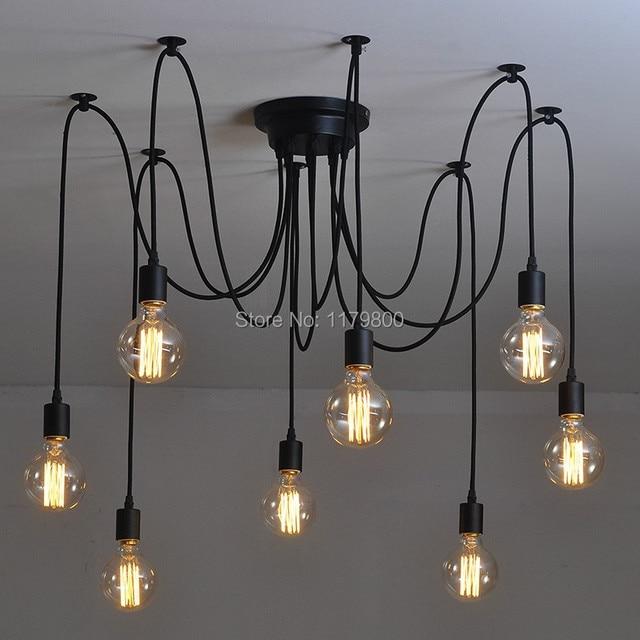 retro estilo industrial de poca cabezas diy ajustable lmpara de luz de techo e edison