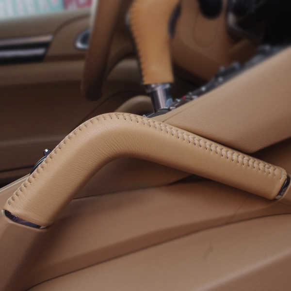 For Porsche Cayenne 2011 2012 2013 2014 2015 2016 1PC Interior Door Handle / Center Console Armrest Handle Cow Leather Cover