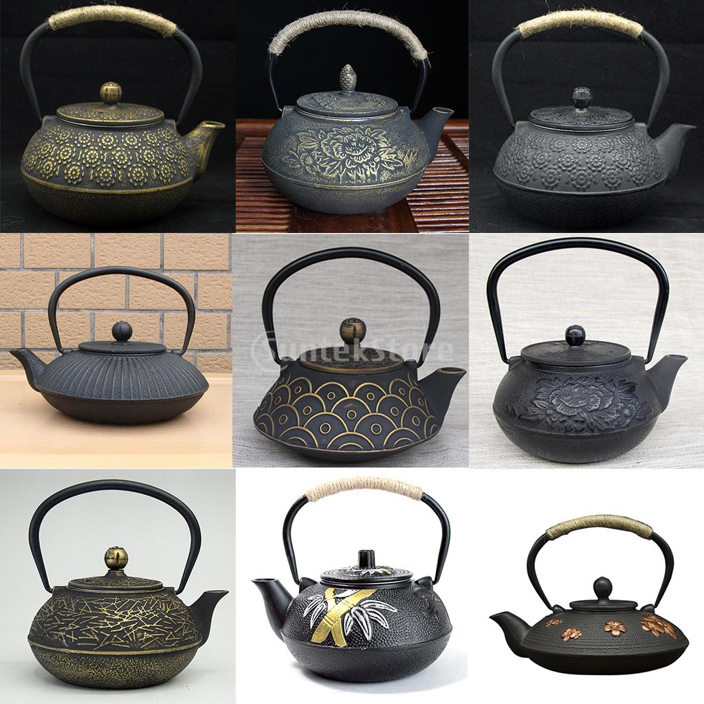 Japanese Black Cast Iron Tea Teapot Kettle Trivet Strainer Gift 9 Patterns