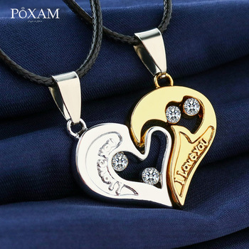 2019 Women Necklaces Custom I Love You Merge 2 Pieces/Set Heart Pendant Necklace Jewelry For Couple Friend Family Christmas Gift image