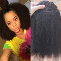 African American Clip In Human Hair Extensions 7A Afro Kinky Curly Clip in Hair Natural Black 9pcs Remy Brazilian Clip Ins Hair