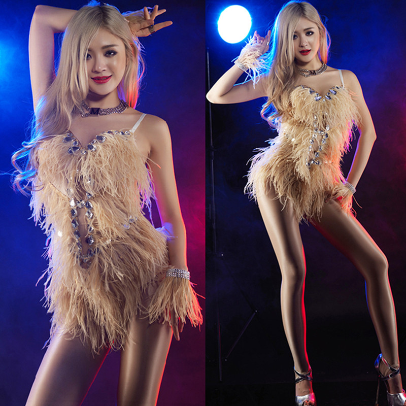 Female Singer Dance Costume Skin Color Sexy One Piece Roupa Feminina DJ Rhinestone Bodysuit Swimsuit Rhinestones Rave Outfit