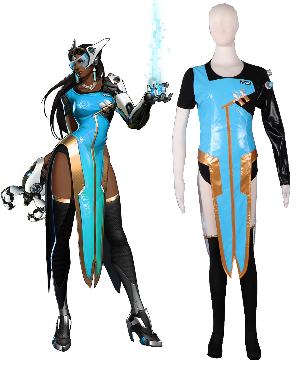 Hot Sale Game OW Symmetra Blue Dress Cheongsam Cosplay Costume Free Shipping D