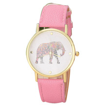 HOT!!! New Women Elephant Printing Pattern Weaved Leather Quartz Dial Watch Wholesale Free Shipping