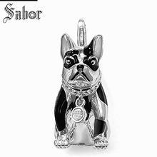 Купить с кэшбэком thomas Bulldog Dog Charm, gifts Jewelry For Women,2019 Pet Gift 925 Sterling Silver Fit jewellery charms