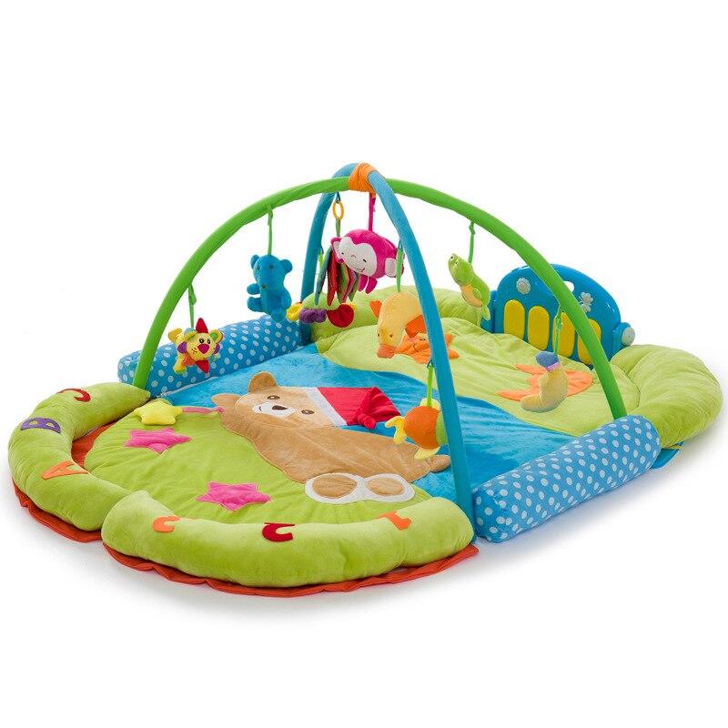 Singe piano poisson ours fleur tortue musique doux bébé jouer tapis couverture Pad jumeau Fitness cadre éducatif bébé jouets grimper ramper