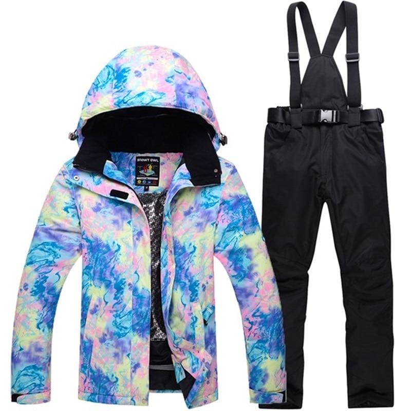 D'hiver en plein air snowboard costume pour femme dot impression neige veste femmes + snowboard conseil pantalon chaqueta esqui mujer femelle