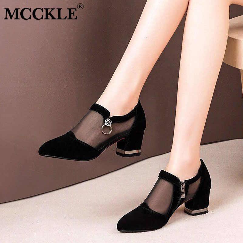קיץ נשים גבוהה העקב נעלי רשת לנשימה משאבות הבוהן מחודדת מיקוד עבה עקבים אופנה נקבה שמלת נעלי נעליים אלגנטיות