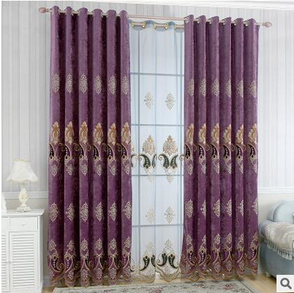 2016 hot Custom European royal big flower luxury curtains for Living Room Embroidered Voile Drapes Window Curtain Bedroom