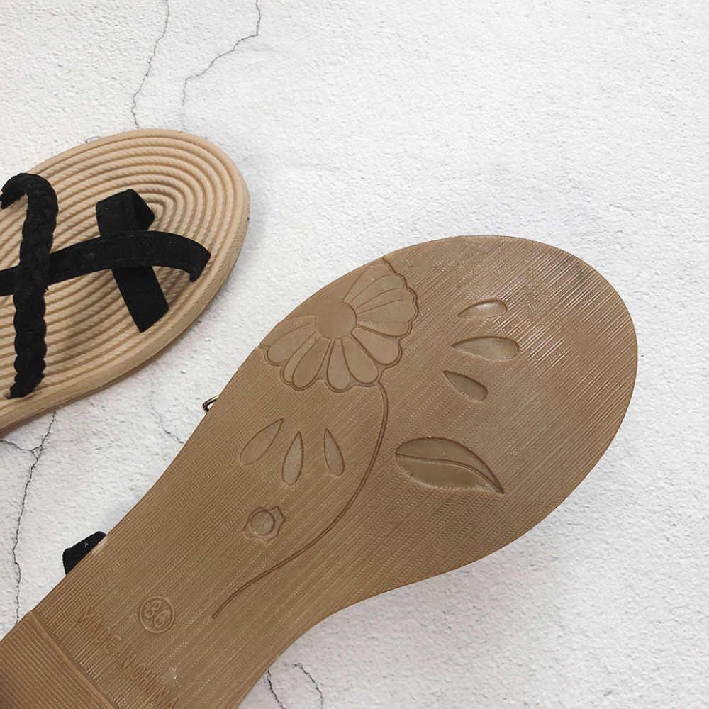 0cfaaf784f40 ... 2019 summer new fashion students flat bottom wild word cross straps toe  beach Roman shoes sandals ...