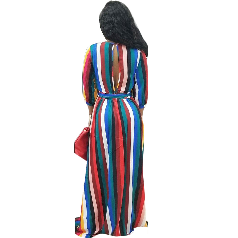 910df41dc Aliexpress.com   Buy JRRY Sexy Slit Striped Women Maxi Dresses Sashes Deep  V Neck Colorful Long Dress for Ladies Vestidos Plus Size 3XL from Reliable  ...