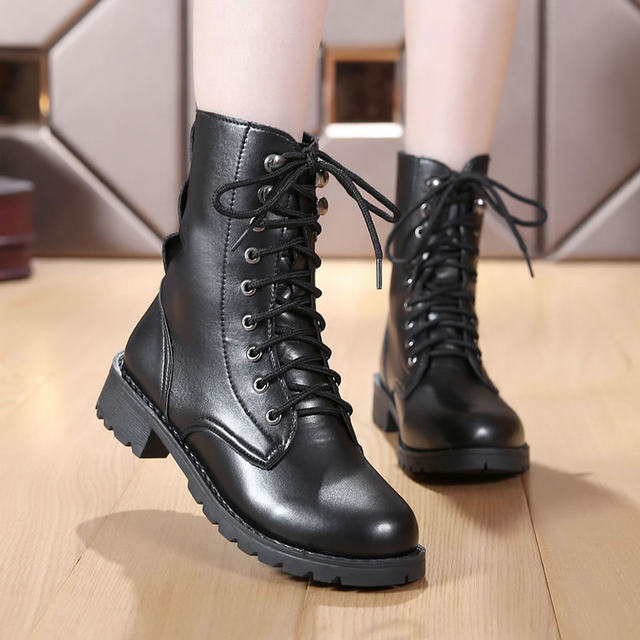 2019 New Buckle Winter Motorcycle Boots Women British Style Ankle Boots Gothic Punk Low Heel ankle Boot Women Shoe Plus Size 43 20