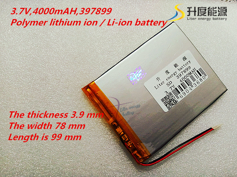 3.7 V 4000 mah 7 inch song mei G2 tablet MID quality products lithium-ion polymer battery 397899 ...