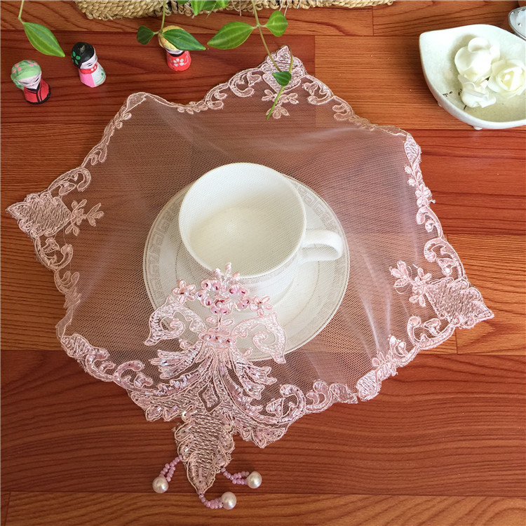 Square 26cm Fashion Mesh Handmade Beaded Embroidered Napkin Placemat Vase Cushion Table Mat Lamp Phone Jewelry Box Cover Towel in Mats Pads from Home Garden