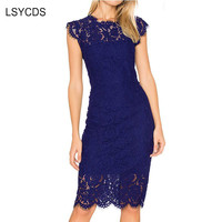 LSYCDS Robe Sexy Blue Dress Women Elegant Lace Black White Red Ladies Casual Dress Bodycon Summer Dresses Woman Party Night 2019