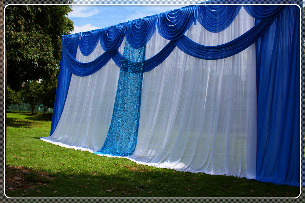 3X6M White Wedding Backdrop Curtain With Blue Swag Pleated For Wedding Event Party Banquet Decoration Lycra