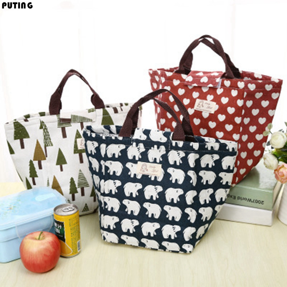 Zakka Insulation Picnic Lunch Bag Food Storage Bag Cosmetic Underwear Organizer Cartoon Laundry Pouch Home Decor CZL8304