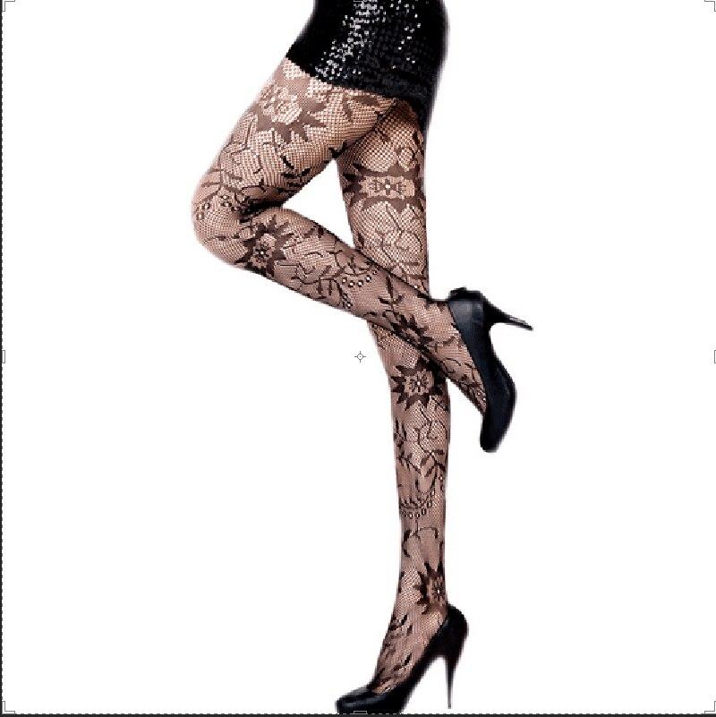 2016 New Style 1010 Fashion Womens Lady Girls Black Sexy Fishnet Pattern Jacquard Stockings Pantyhose Tights Mesh Woman