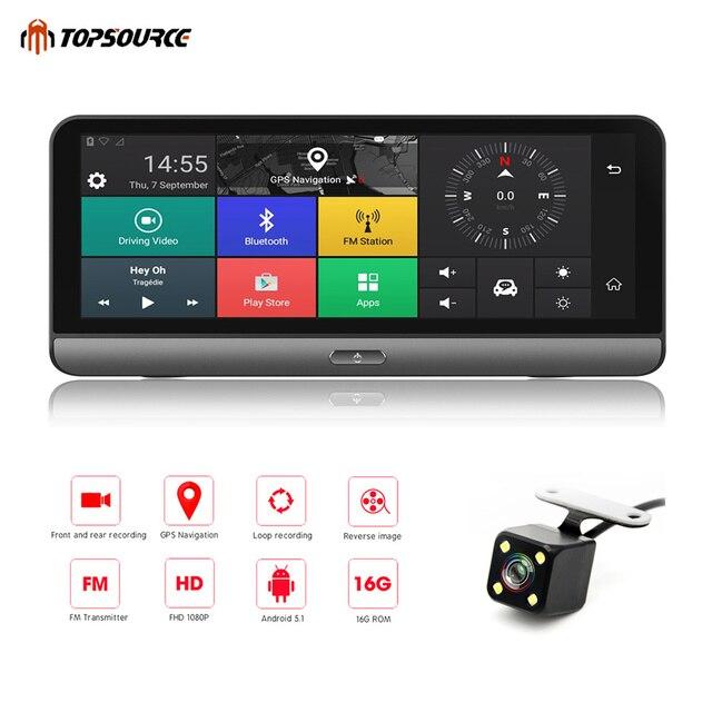 "TOPSOURCE Car DVR Android 5.1 4G 8"" Car Camera WIFI 1080P Video Recorder Registrar Dash Cam DVR Parking Monitoring Bluetooth T78"