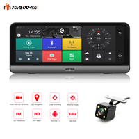 TOPSOURCE Car DVR Android 5.1 4G 8 Car Camera WIFI 1080P Video Recorder Registrar Dash Cam DVR Parking Monitoring Bluetooth T78
